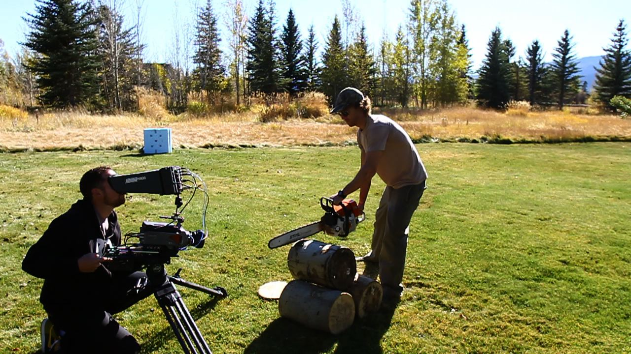 Curt Morgan with the Phantom HD Gold shooting 1000fps of Trey Chace with a chainsaw