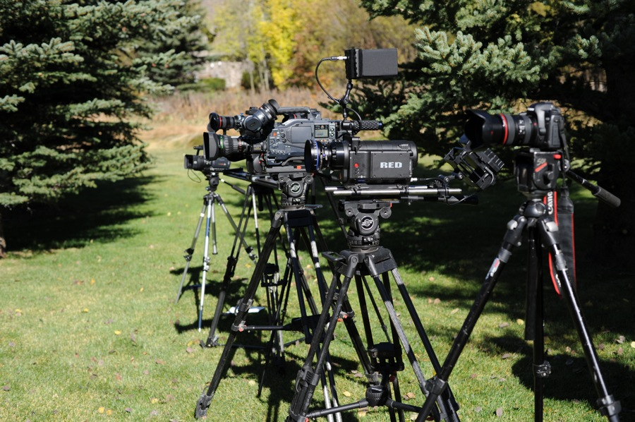 Left to Right: Panasonic HVX200 and Varicam 3700, Red One, Canon 5D